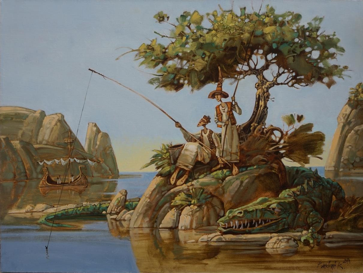 Рыбаки, остров, крокодил, рыбы, корабли, скалы