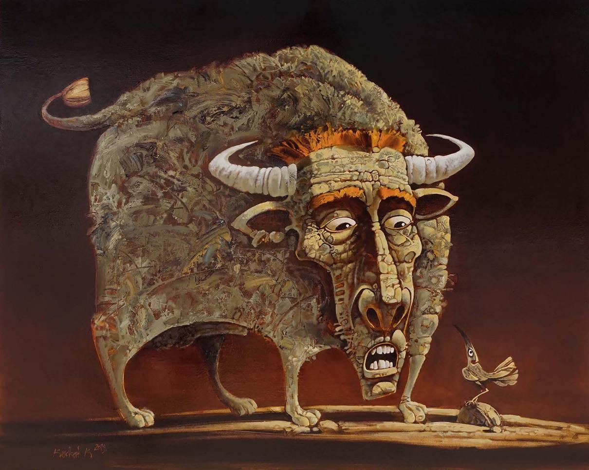 Мневис-это Бог в образе быка, воплощение силы и могущества, способности повелевать. Он твердо стоит на земле. Он был очарован маленькой птичкой. Он ей завидует. Бык никогда не сможет летать и видеть мир с высоты птичьего полета. Он остается слушать невероятные истории, в которых Пи-Ви является сторонним наблюдателем.