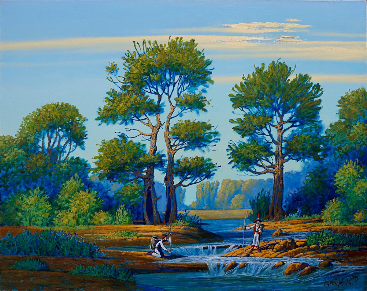 перекат, горная река,скалы,утро, деревья, путешественники, люди, современное искусство, жанровая живопись
