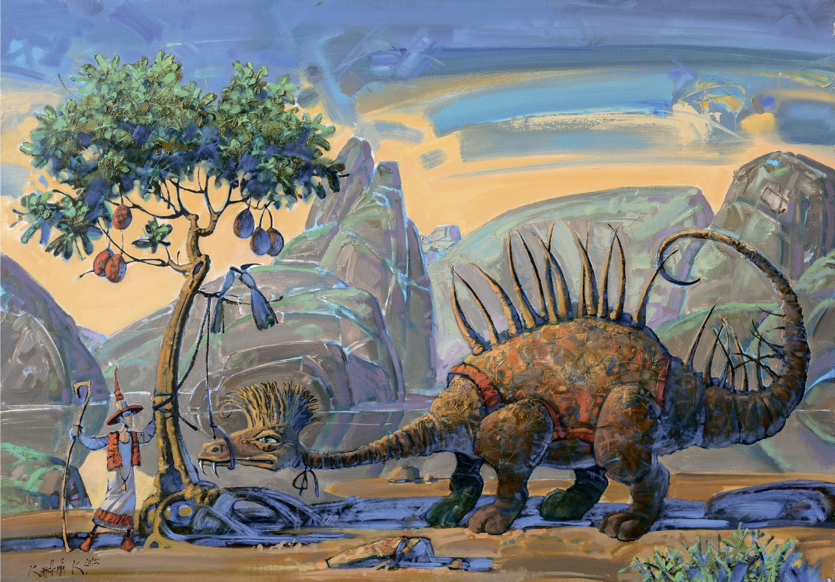 Горы, динозавр, пейзаж,романтизм, птицы, сказочный пейзаж, дракон,плоды, друзья