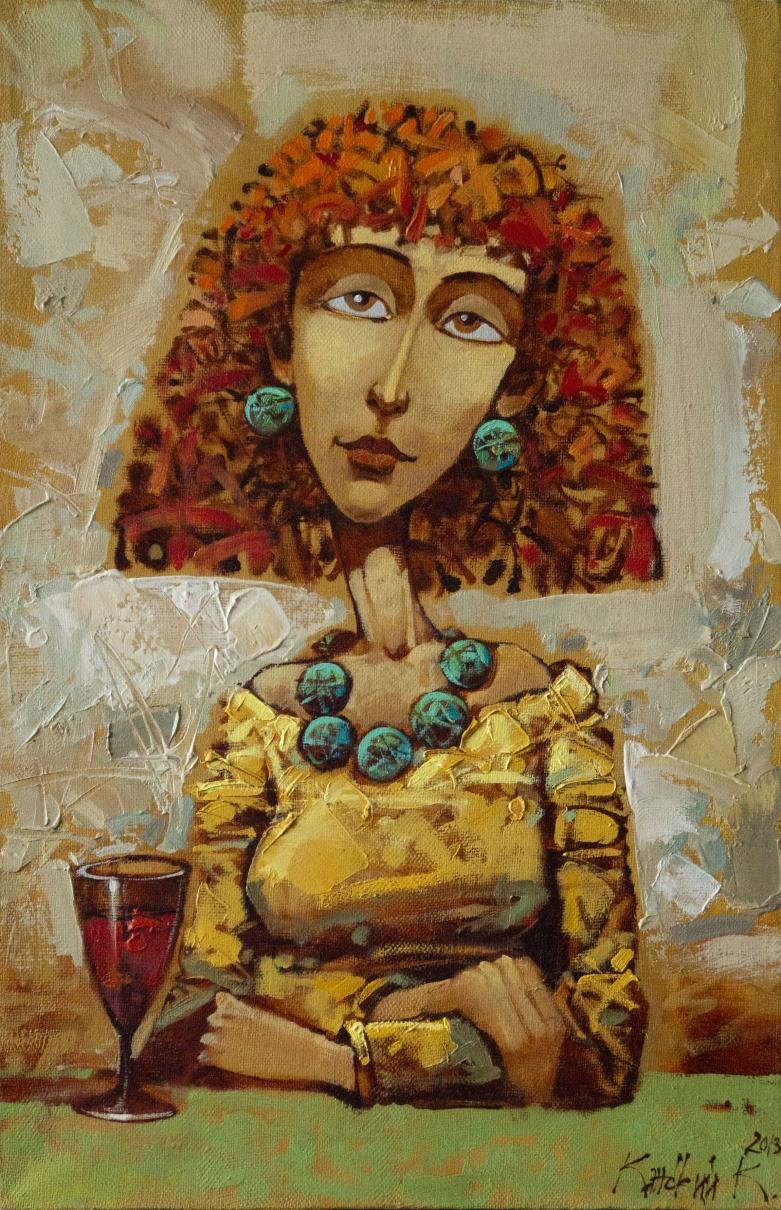 портрет девушки, девушка с бокалом, современная живопись, подарок,произведение искусства