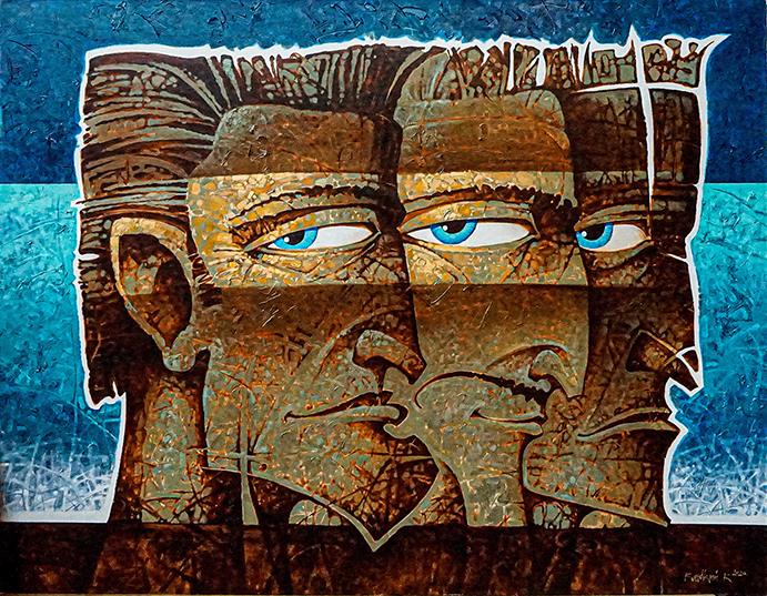 """Триумвират-это вариант правительственной структуры. С библейских времен до наших дней. Картина является знаком и показывает собирательный образ правящей сущности власти. Каждый персонаж на картине является воплощением другой ипостаси. Он наделен своими собственными, часто противоречивыми качествами и проявлениями, но они объединены одним """"стволом"""". И в этой схеме они никуда не могут деться друг от друга. Они обречены править вместе. Удержание власти-задача непростая, в разное время разные правители решали э"""
