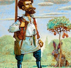 Охотник, решил подстрелить зайца, но когда вышел на опушку про всё забыл. Современная живопись. Жанровая композиция.