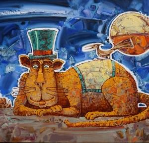 Кот, шляпа, птица, луна, город