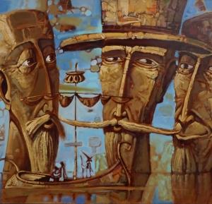 Statues, idols, men, sea, silence, ships, seascape