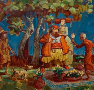 genre painting, flower seller, contemporary art, gift, collecting, fine art