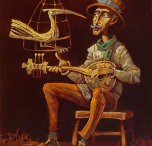 музыка, птица, жанровая живопись , современное искусство