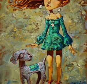 Red-haired, light, romantic, girl walking with a furry, tailed friend.