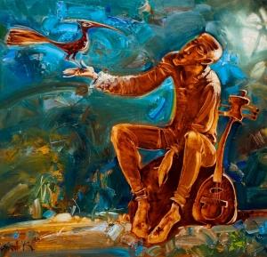 Картина написана в выразительной манере с использованием эмоциональных цветовых решений. Это история о музыканте, который нуждается во внешнем общении с природой. Внутренний мир и равновесие достигаются созерцанием, когда ум свободен и не обременен повседневной жизнью.