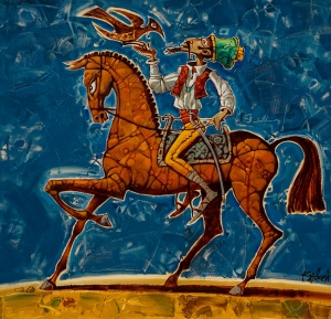 An elegant rider of indeterminate appearance rode out to hunt. The painting looks like a symbol, a sign of masculine expressiveness and elegance. Bravado in every gesture, character... And whether the hunt will be successful is no longer important. He's here to make an impression.