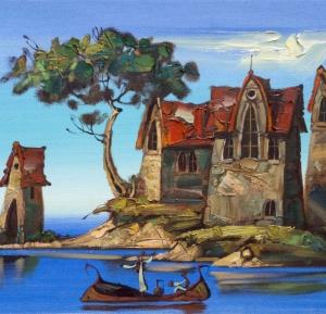 Island, sea, castle, ships, boats, sailboats, travel