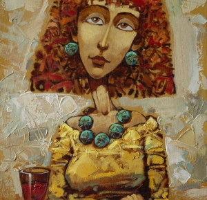portrait of a girl, a girl with a glass, modern painting, gift, work of art