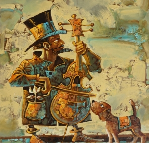 Виолончелист, музыка, собака, инструмент, друзья
